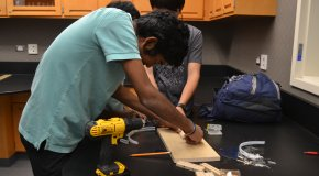 students building science project