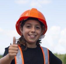 student wearing helmet